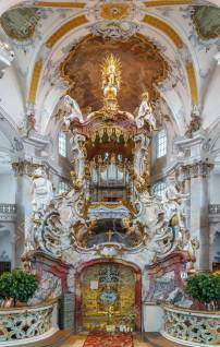 The Basilica of the Fourteen Holy Helpers, Germany. The late Baroque-Rococo basilica, designed by Balthasar Neumann, was constructed between 1743 and 1772. Interior, mercy altar